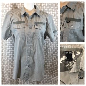 ZOO YORK Short Sleeve Gray Stripe Button Up Medium
